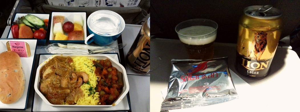 スリランカ航空 機内食 カレーとビール